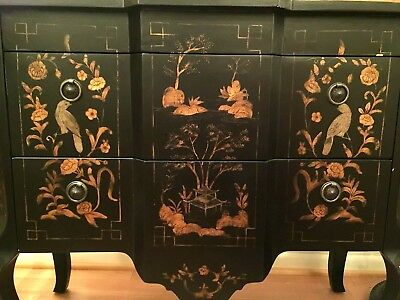 Hand Painted Oriental Chest With Gold Leaf Accents