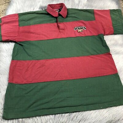 Vintage 1997 NBA Red Green Striped Seattle Super Sonics Polo Shirt