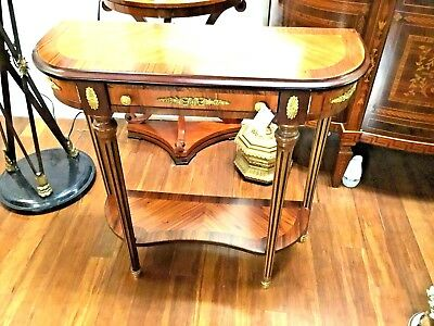 Small French  Style Hand Made Wood Inlaid Console From Italy