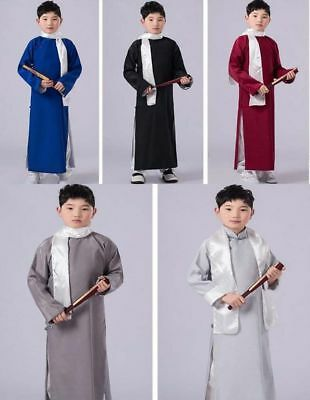 Chinese Adult Men/'s Ancient Mandarin Robe Long Gown Ip Man Costume Stage Dress