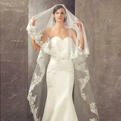 White Voile Bridal Wedding Veil With Embroidered Applique Lace Edging