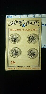 Vintage Buttons - Supreme Quality Card of 4 - Germany US-Zone