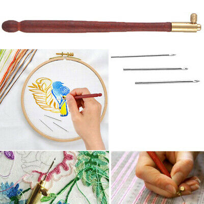 Tambour Hook with 3 Needles 70 100 120 Embroidery Beading Crochet Tools Kit AU