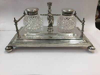 Antique Inkwell Ink Well Desktop Set W H Silverplate Quill Pen