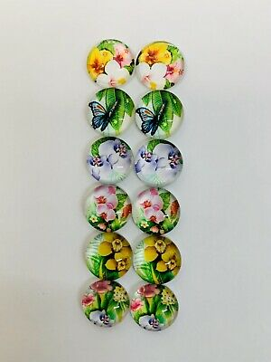 6 Pairs Of 12mm Glass Cabochons #637