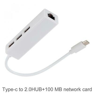 TypeC to USB 2.0 x 3 Port + 100M RJ45 Ethernet Adapter Hub Cable Fit for Macbook