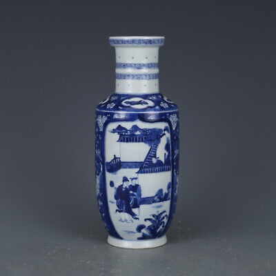 "8.5"" Collect Fine Chinese Blue White Porcelain Ancient Characters Tu Bottle Vase"