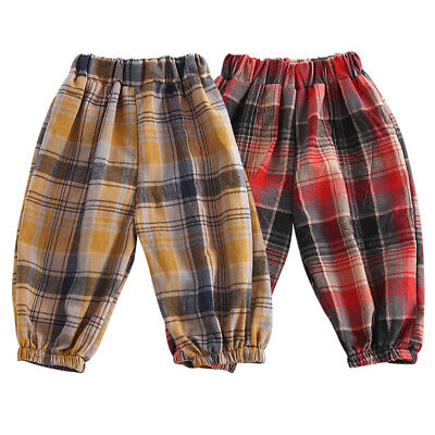 Baby Girls Boys Spring Plaid Loose Sports Pants Casual Trousers Toddler Bottoms