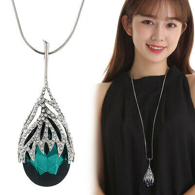 Fashion Women Crystal Water Drop Pendant Long Chain Sweater Necklace Jewelry