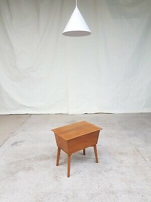 Vtg Mid Century Morris Of Glasgow Walnut Sewing Box Heals Side Occasional Table