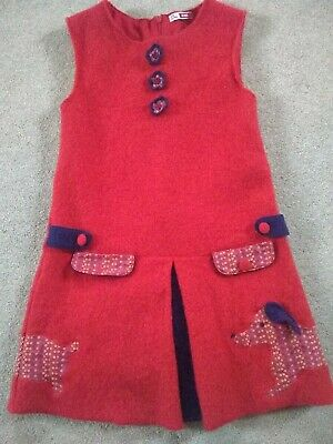 Girls Wool Check Coat Age 6-7  red Wool Blend VGC, 3 piece coat, drees and skirt