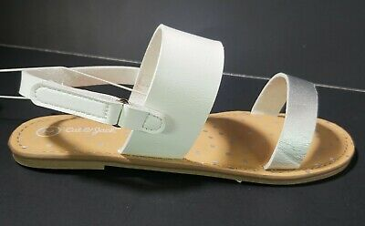 NEW Cat & Jack Girls Youth Size 2 White Silver Magalie Ankle Strap Flat Sandals