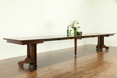"Mahogany Antique Dining Table, 8 Leaves in Case, Extends 15' 9"" #32646"