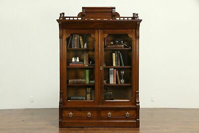 Victorian Eastlake Antique Walnut Library Bookcase #32659