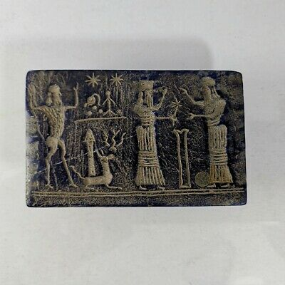 15Very Old Near Eastern Lapis Lazuli King Intaglio Carved Relief #307