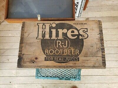 Vintage Hires Root Beer Advertising Wooden Crate -Great Display Item-Nice
