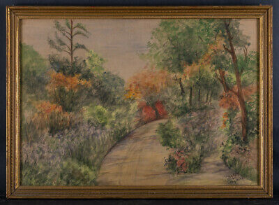 """Early 20th Century Impressionist Watercolor On Paper """"Breton Woods"""" Signed"""