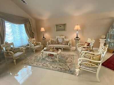 auth 8P VINTAGE Import Old World ROCOCO Louis XV Sofa ARMCHAIRS MARBLE TABLES