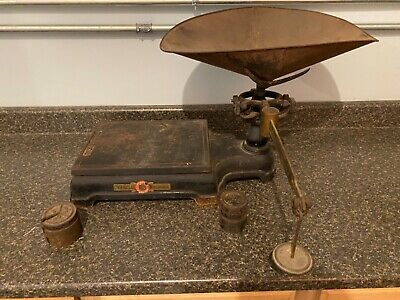 Antique Continental Scale Works Chicago, ILL. Hardware Scale w/ Weights Brass
