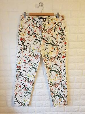 New Zara Trousers White Green Floral Print Tapered Fitted Women's Size MEDIUM