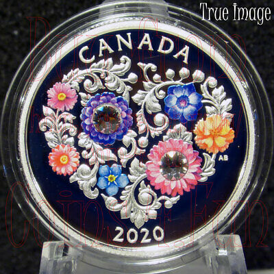 2020 Celebration of Love - $3 Pure Silver Coin with Swarovski Crystals - Canada