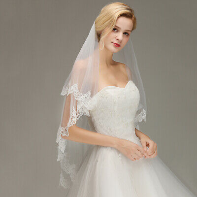 Ivory Voile Bridal Wedding Veil, Applique Lace Edging, 2 Layers With Comb