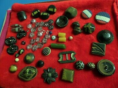 Antique Lot Metal Glass Buttons Jewel Bakelite Old Plastic Stone Lot 60 + look