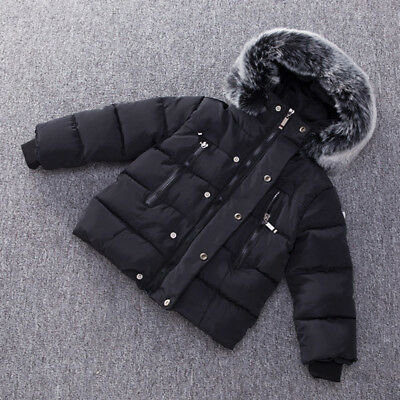 Winter Toddler Baby Baby Boy Warm Cotton-padded Thick Jacket Outwear Hooded Coat