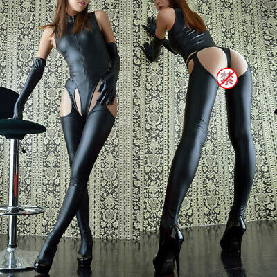 Sexy Womens Lingerie PU Leather PVC Jumpsuits Nightclub Wet Look Hollow Bodysuit