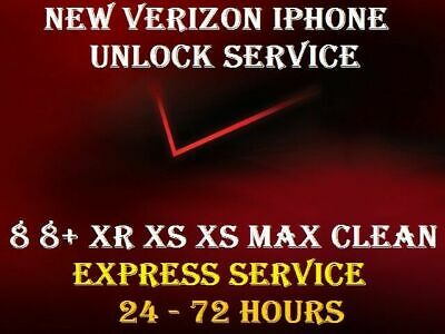 New Express Verizon Unlock Service Iphone 7 8 8+ Xr Xs  Xs Max Instant - 3 Hours