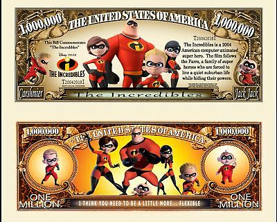 The Incredibles Million Dollar Bill Play Funny Money Novelty Note +FREE SLEEVE