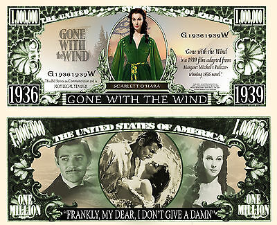 Gone With Wind Million Dollar Bill Fake Funny Money Novelty Note + FREE SLEEVE