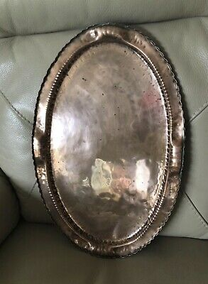 Antique Copper Tray Arts & Crafts Hammered Oval Victorian 1900s Edwardian Old