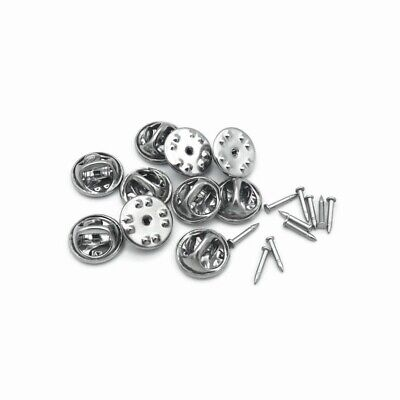 10 x Sets Stainless Steel Tie Tacks / Lapel Pins with Butterfly Clutches