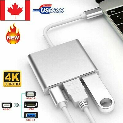 3IN1 USB-C Type C to 4k HD HDMI Adapter USB 3.1 Charging Port Adapter for Phone