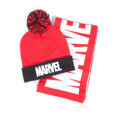 Official MARVEL COMICS Logo Bobble Beanie Hat And Scarf Gift Set