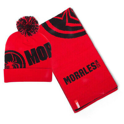 MARVEL COMICS  Spider-man Miles Morales Bobble Beanie Hat And Scarf Gift Set