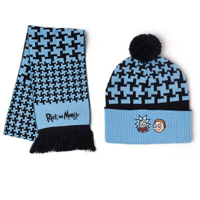 Official RICK AND MORTY Bobble Beanie Hat And Scarf Gift Set