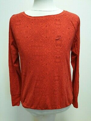 L913 Girls Nike Red Black Pattern Long Sleeve Round Neck Top Uk Age 12-13 Yrs