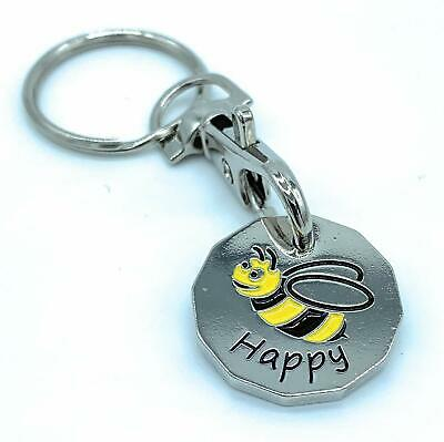 Bee Happy 12 Sided Bumble Bee Trolley Token Keyring £1 Coin