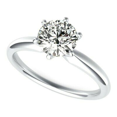 925 Sterling Silver 2.0ctw Round Cubic Zirconia Solitaire Engagement Ring Size 6