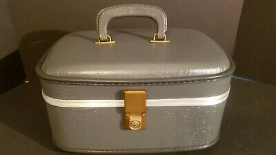 Vintage Hard Shell Train Case Carry On Luggage Cosmetic Travel W/ Mirror No Key