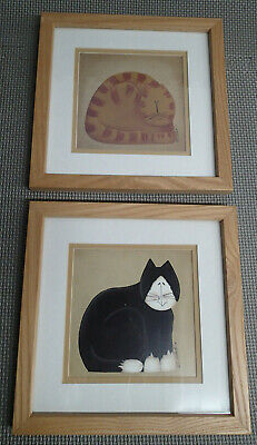 2 Fiddlestix Cat Series Primitive Cat Prints Wall Hanging Glass Framed Poster