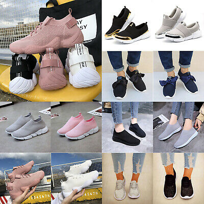 Women Mesh Sneakers Trainers Sock Runners Comfy Slip Lace On Sports Casual Shoes