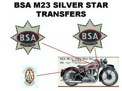 BSA M23 Silver Star Transfers Decals Set DBSA155 Classic Motorcycle