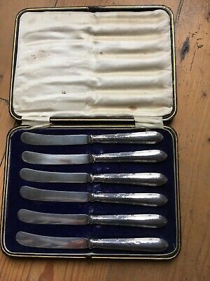 Antique Solid Silver Butter / Fruit Knifes Set of Six Sheffield 1915