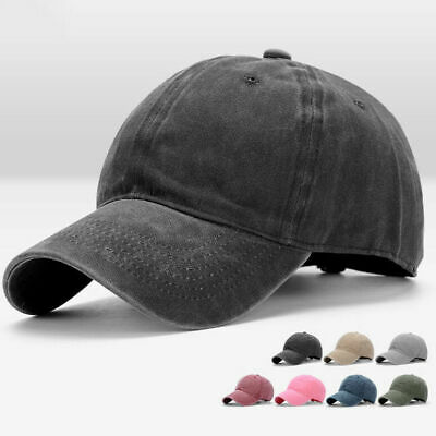 Snapback Baseball Plain Cap Washed Denim Classic Retro Vintage Hip Hop Hat UK