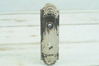 *Antique / Vintage Embossed Door Plate Backplate Off White Chippy Hardware #4