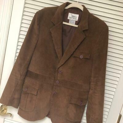 Men's 3 Pc Western Corduroy Suit 44 VTG 36x32 Brown 2 Side Vents L'Avion