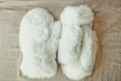 White Fur Mittens - Womens Fur Gloves - Winter Arm Warmers- Mens Hand Warmers